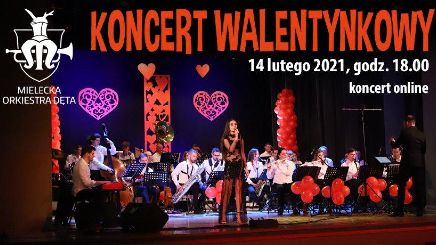 Grafika promująca Koncert Walentynkowy Mieleckiej Orkiestry Dętej